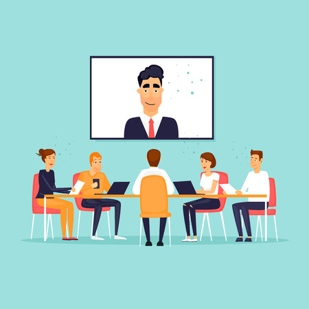 Illustration pour Online business meeting. Flat design vector illustration. - image libre de droit