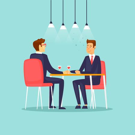 Illustration pour Business meeting in the restaurant. Flat design vector illustration. - image libre de droit
