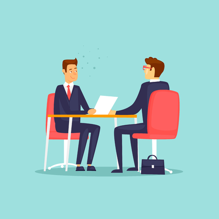 Illustration pour Interviewing, job search. Flat design vector illustration. - image libre de droit