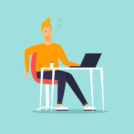 Illustration pour Happy businessman sitting at computer. Flat design vector illustration. - image libre de droit