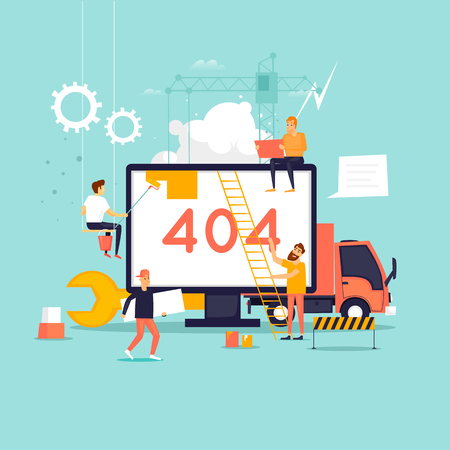 Ilustración de Error 404 page. Builders, repair, crane, site. Flat vector illustration in cartoon style. - Imagen libre de derechos
