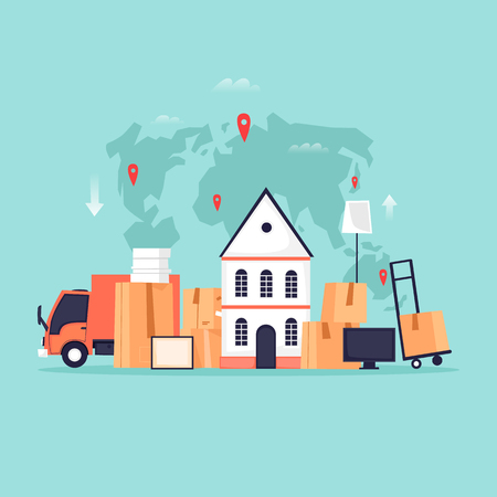 Illustration pour Cargo transportation, moving to a new apartment, boxes with things. Flat vector illustration in cartoon style. - image libre de droit