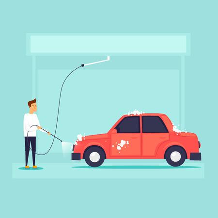 Illustration pour Car wash. Flat design vector illustration. - image libre de droit