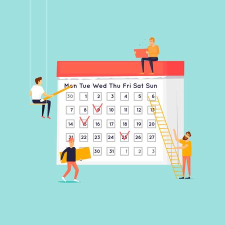 Illustration pour Planning concept , people mark plans on the calendar. Flat design vector illustration. - image libre de droit