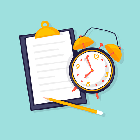 Ilustración de Planning, alarm and clipboard with plan. Flat design vector illustration. - Imagen libre de derechos