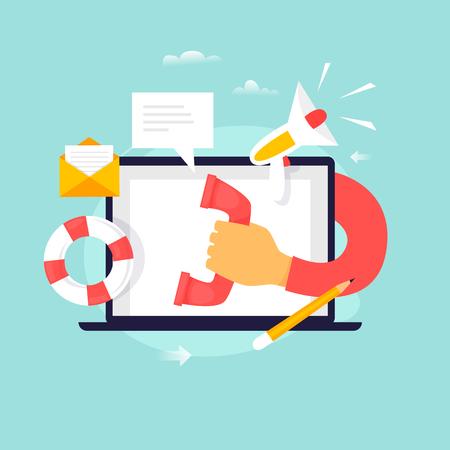 Ilustración de Technical support, customer service, online help, call center. Flat design vector illustration. - Imagen libre de derechos