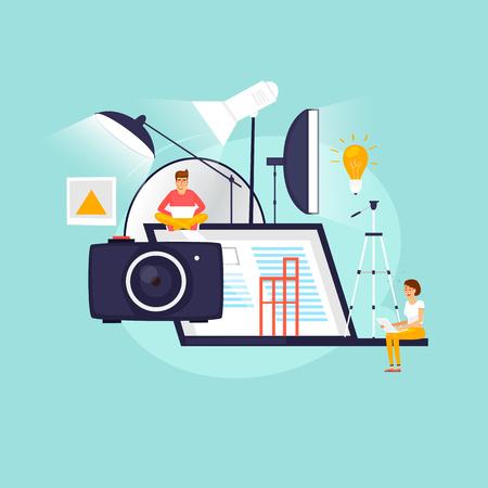 Illustration pour Photographer, studio shooting, training, courses, education concept. Flat design vector illustration. - image libre de droit