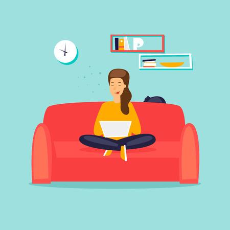 Ilustración de Girl working on the couch with laptop flat design vector illustration. - Imagen libre de derechos