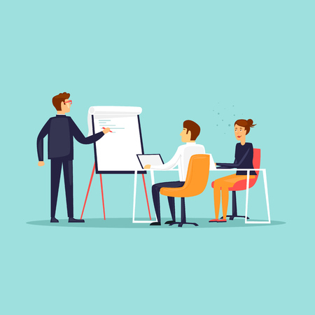 Ilustración de Business training or office meeting flat design vector illustration. - Imagen libre de derechos