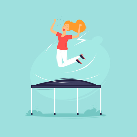 Ilustración de Girl jumping on a trampoline flat design illustration. - Imagen libre de derechos