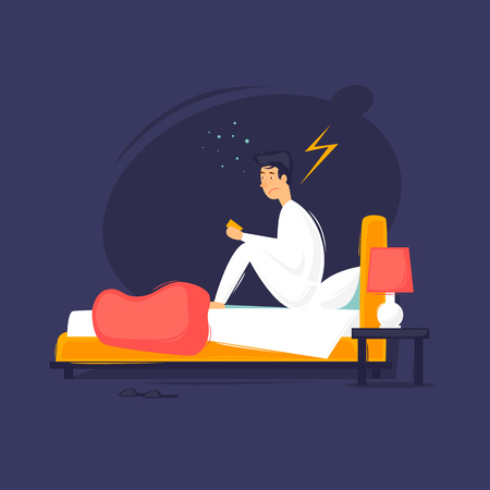 Illustrazione per Man  sitting on the bed flat design illustration. - Immagini Royalty Free