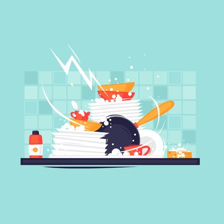 Ilustración de Dirty dishes. Flat design vector illustration. - Imagen libre de derechos