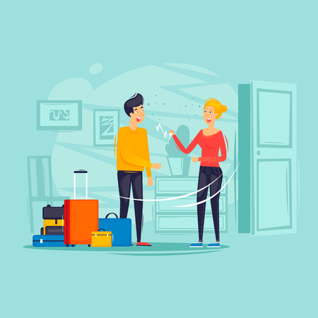 Illustration for Woman rents a man an apartment, trip, housing rent. Flat design vector illustration. - Royalty Free Image