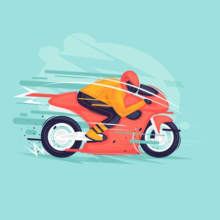 Illustration pour Motorcycle race. Flat design vector illustration. - image libre de droit