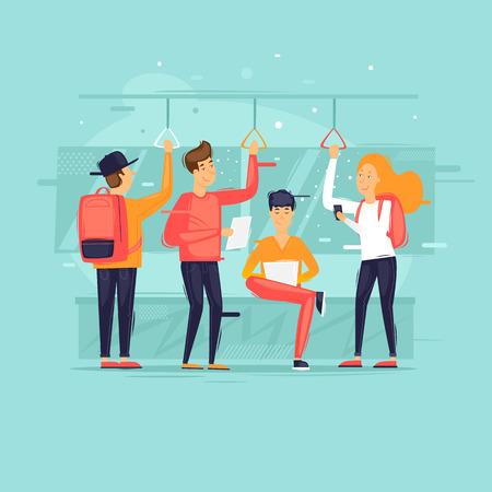 Illustration pour People go by public transport, metro, bus, train. Flat design vector illustration. - image libre de droit