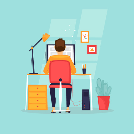 Ilustración de Programmer works at the computer, businessman, workplace, rear view. Flat design vector illustration. - Imagen libre de derechos