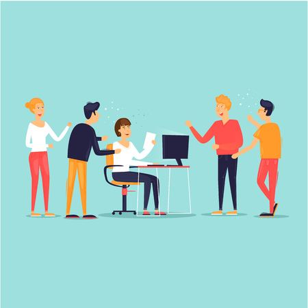 Ilustración de Teamwork, startup, support, data analysis, brainstorming, meeting. Flat design vector illustration. - Imagen libre de derechos