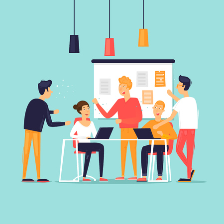 Illustration pour Teamwork, startup, support, data analysis, brainstorming, meeting. Flat design vector illustration. - image libre de droit