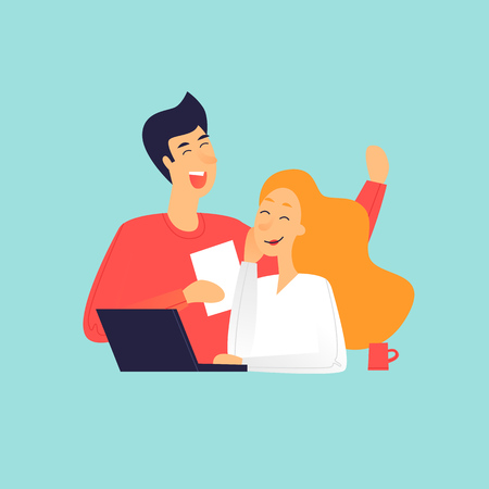 Ilustración de Man and woman talking near laptop, office life. Flat design vector illustration. - Imagen libre de derechos