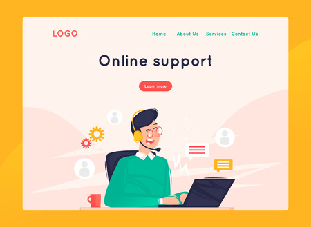Illustration pour Site template, Online support, 24 hours, man answers questions. Web page design. Website and mobile development. Flat vector illustration in cartoon style. - image libre de droit