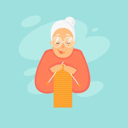 Illustration pour Grandmother knits. Flat design vector illustration - image libre de droit