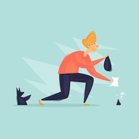 Ilustración de Man cleans a dog. Walking animals. Flat design vector illustration - Imagen libre de derechos