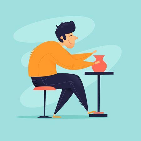 Ilustración de Potter, a man sculpts a jug, a sculptor. Flat design vector illustration. - Imagen libre de derechos