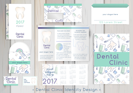 Illustration pour Dental Clinic corporate identity template design set. Documentation for business. Business stationery. Vector mock up. Company style for brand book and guideline with colorful abstract logo. - image libre de droit
