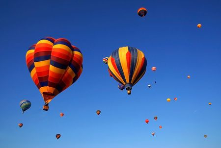 colorful hot air balloons in the blue sky