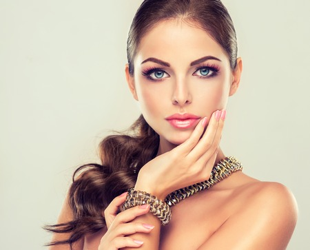 Photo for fashion woman with jewelry set . girl with   fashionable jewelry , earrings  and ring . - Royalty Free Image