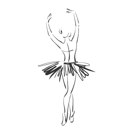 Photo for art sketched beautiful young ballerina in ballet pose from the back - Royalty Free Image
