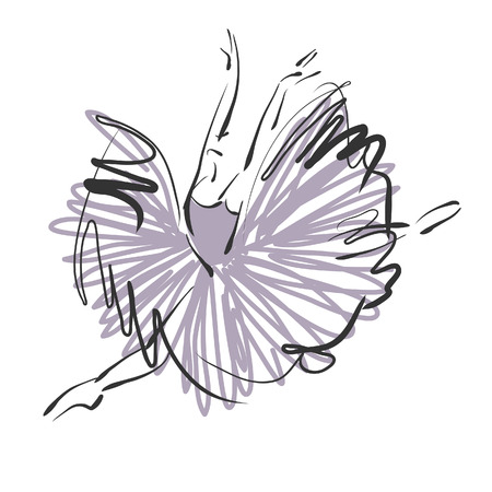 Photo for art sketched beautiful young ballerina with long tutu in fly dance on white background. Vector version is also in my gallery. - Royalty Free Image