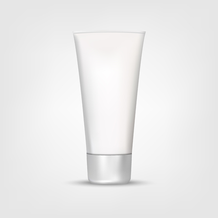 Illustration pour Mock Up Tube Of Cream Or Gel Grayscale in a realistic style isolated on a white background vector illustration. Cosmetics, Beauty makeup for your projects. - image libre de droit