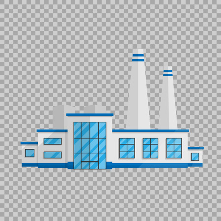 Illustration pour Factory building in the Flat style isolated on transparent background illustration. - image libre de droit