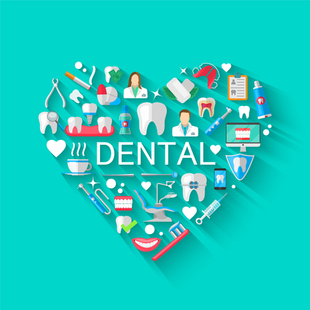 Ilustración de Dental Banner Background Concept With Flat Icons Isolated. Vector Illustration, Dentistry, Orthodontics. Healthy clean teeth. Dental instruments and equipment. Illustration for your projects - Imagen libre de derechos