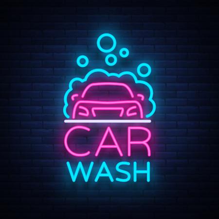 Ilustración de Car wash logo vector design in neon style vector illustration isolated. Template, concept, luminous signboard icon on a car wash theme. Luminous banner. - Imagen libre de derechos