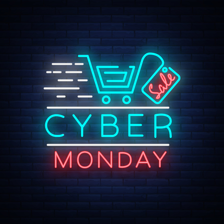 Ilustración de Cyber Monday concept banner in fashionable neon style, luminous signboard, nightly advertising advertisement of sales rebates of cyber Monday. Vector illustration for your projects. - Imagen libre de derechos