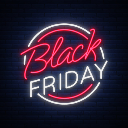 Ilustración de Black Friday vector isolated, poster banner in neon style. Bright sign sales Black Friday discounts - Imagen libre de derechos