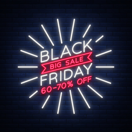 Ilustración de Black Friday sale neon sign, neon banner, background brochure. Glowing neon sign, bright glowing advertising, sales discounts Black Friday. Vector illustration - Imagen libre de derechos
