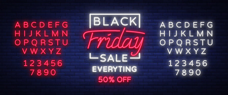 Ilustración de Black Friday sale neon sign, neon banner, background brochure. Glowing neon sign, bright glowing advertising, sales discounts Black Friday. Vector illustration. Editing text neon sign - Imagen libre de derechos