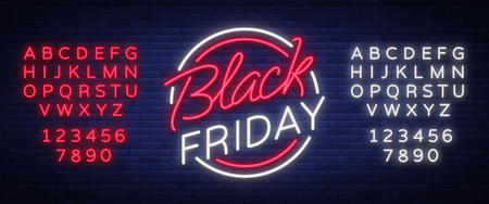 Ilustración de Black Friday vector isolated, poster banner in neon style. Bright sign sales Black Friday discounts. Editing text neon sign. - Imagen libre de derechos