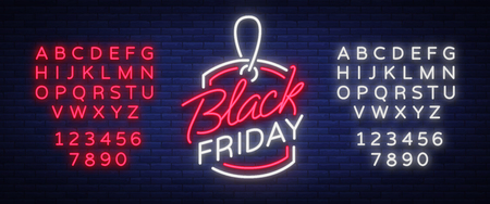 Ilustración de Black Friday neon advertising, discounts, sales, neon bright banner sign. Glowing sign for your projects. Editing text neon sign. Neon alphabet - Imagen libre de derechos