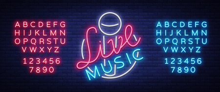 Illustration for Live music neon sign with letters and numbers. - Royalty Free Image