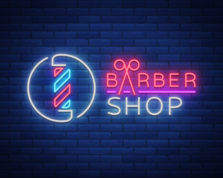 Illustration pour Vector logo neon sign barber shop for your design. For a label, a sign, a sign or an advertisement. Hipster Man, Hairdresser Logo. Neon billboard, bright sign, luminous banner - image libre de droit