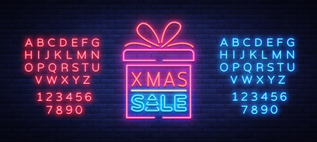 Illustration pour Christmas sale discounts, card postcard in neon style. Neon sign, bright poster, luminous night advertising Christmas sales. Vector illustration. Editing text neon sign. Neon alphabet. - image libre de droit