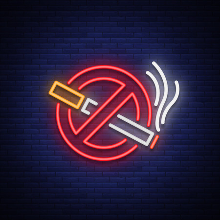 Illustrazione per No smoking vector neon sign. Bright symbol, icon, luminous warning sign of smoking in an unauthorized place. - Immagini Royalty Free
