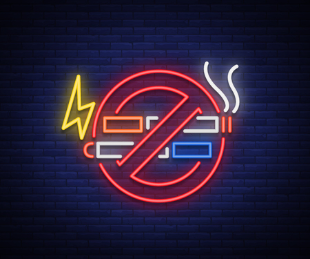 Illustration pour No smoking no vape neon sign. Bright symbol, neon banner, icon, illuminated sign of smoking and vaping in an unauthorized place. Stop electronic cigarettes. Stop smoking. Vector illustration - image libre de droit