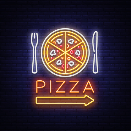 Illustration pour Pizza neon sign vector. Pizzeria neon logo, emblem. Neon advertising on the topic of pizza cafe, restaurant, dining room, snack bar, bar. Bright night billboard, shining banner. Vector illustration. - image libre de droit