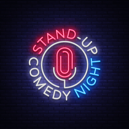 Illustration pour Stand Up Comedy Show neon sign. Neon  symbol, bright luminous banner, neon-style poster, bright night-time advertisement. Stand up show. Invitation to the Comedy Show. - image libre de droit