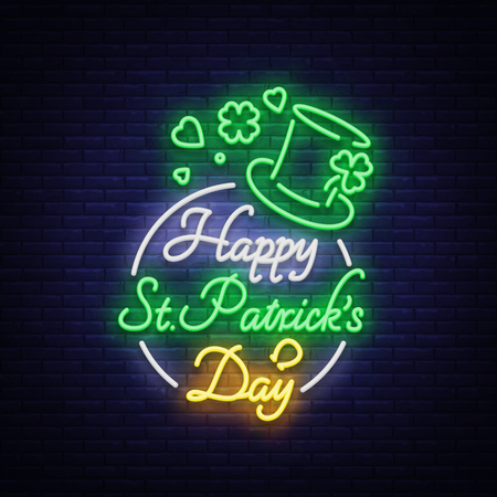 Ilustración de Happy St. Patrick's Day Vector Illustration in Neon Style. Neon sign, greeting card, postcard, neon banner, bright night advertising, flyer. An invitation to celebrate St Patricks Day. - Imagen libre de derechos
